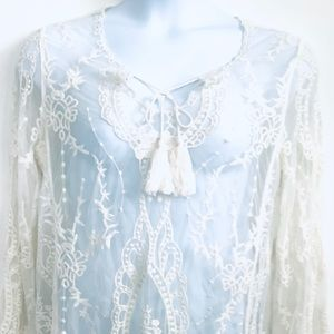 NWOT American Rag Long Sleeve Lace Sheer Top Large